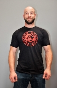 OXBALLS LOGO (Red on Black) T-Shirt by OXBALLS