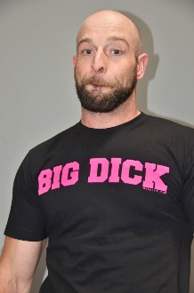 BIG DICK (Pink on Black) T-Shirt by OXBALLS