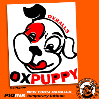 PIGINK 6-pack temporary tats: OXPUPPY TAT!